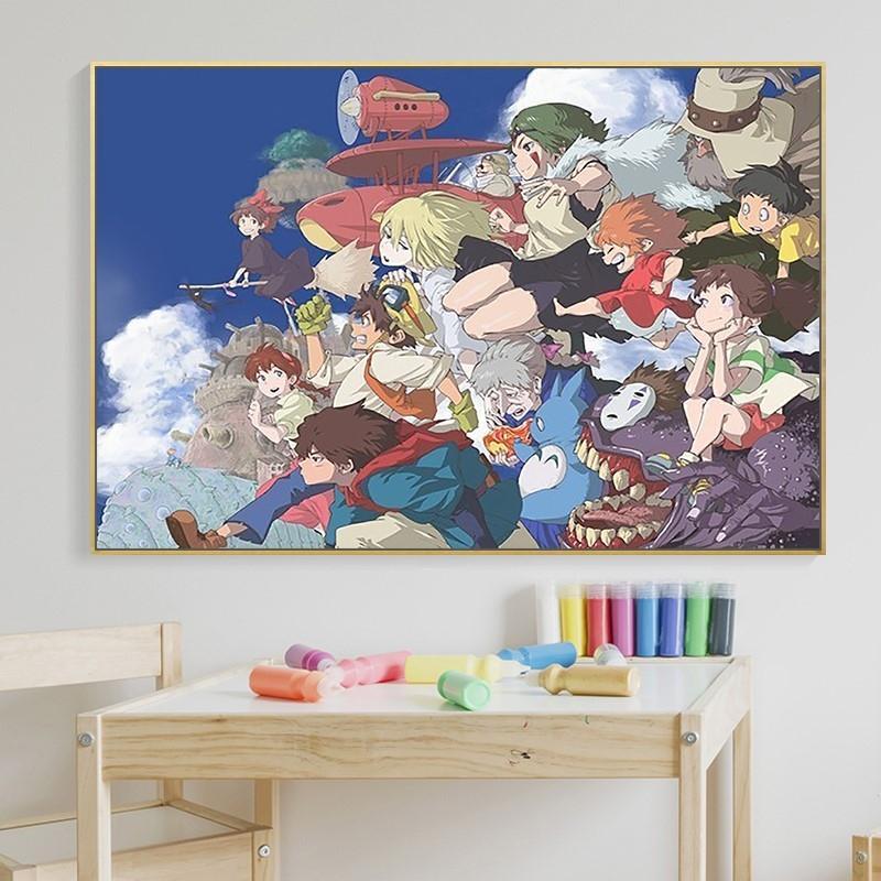 千与千寻油画填色北欧风格宫崎骏动漫全家福手绘
