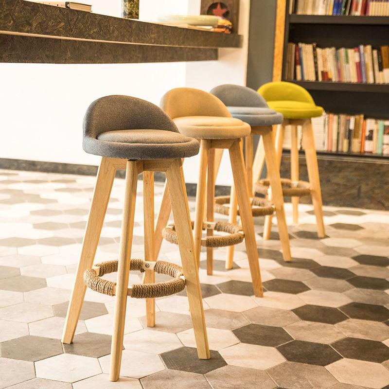 酒吧椅美式复古简约家用实木吧台椅子高脚凳前台收银旋转创意吧椅