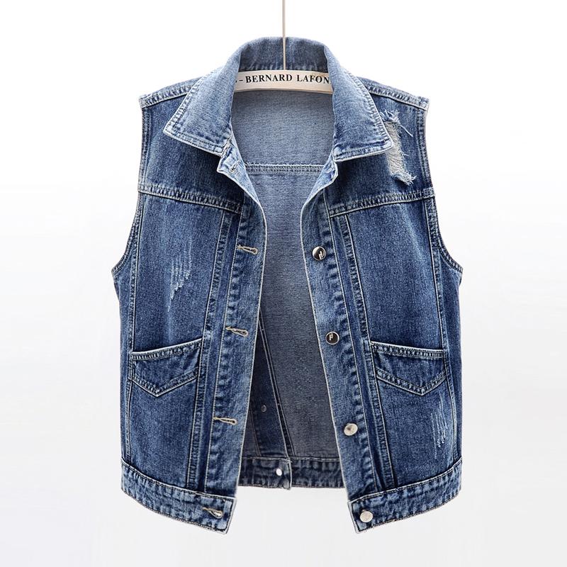 2021 new spring and summer Korean versatile sleeveless jeans vest womens Short Jacket Vest Jacket with fashion