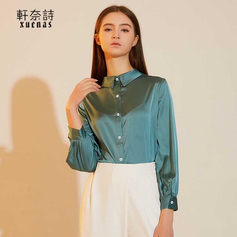 2021 spring simple and elegant silk shirt pure color foreign style commuter womens top high end long sleeve new shirt
