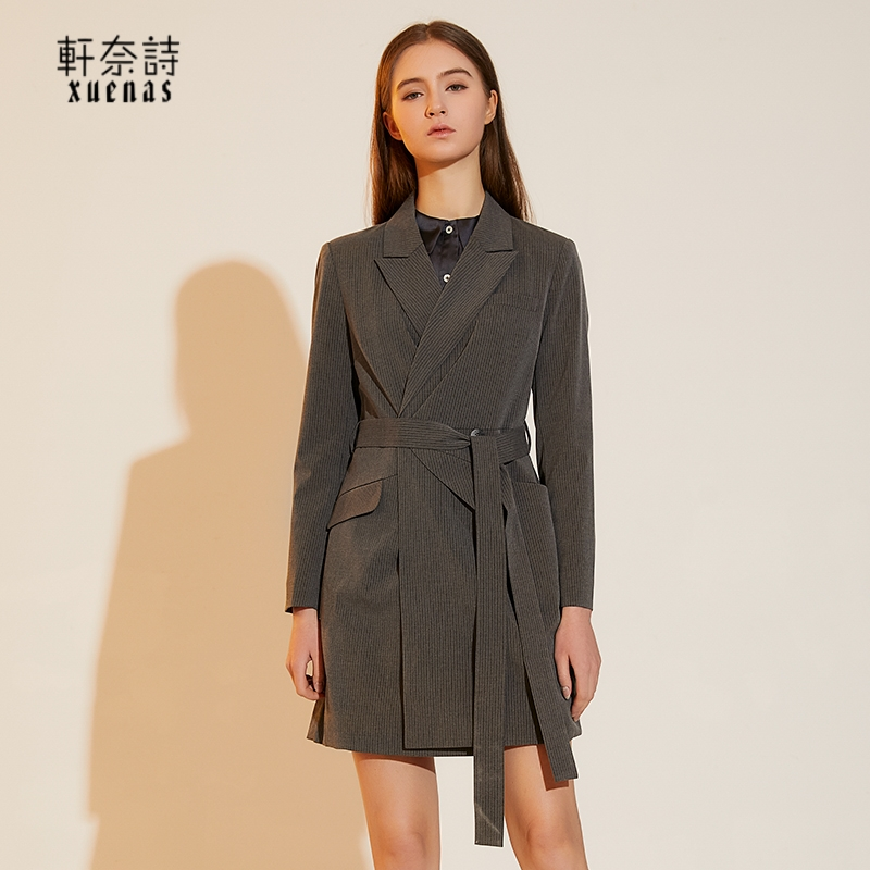 Korean slim temperament medium and long casual coat womens spring 2021 new striped lace up waist closing suit top