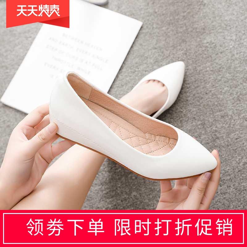 豆豆鞋女2020新款百搭四季尖头浅口漆皮内增高平底淑女中坡跟单鞋