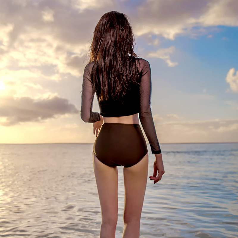 Split long sleeve high waist swimsuit womens mesh sexy bikini two-piece swimsuit small chest gathered hot spring swimsuit