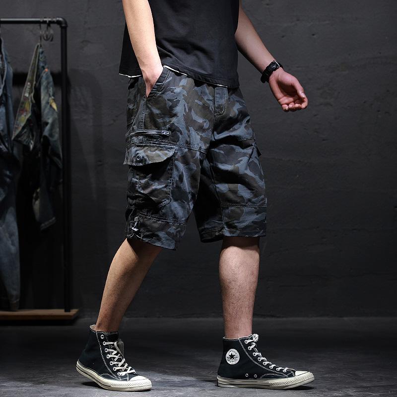 潮牌迷彩工装短裤男士夏季薄款宽松休闲五分裤大码口袋运动七分裤