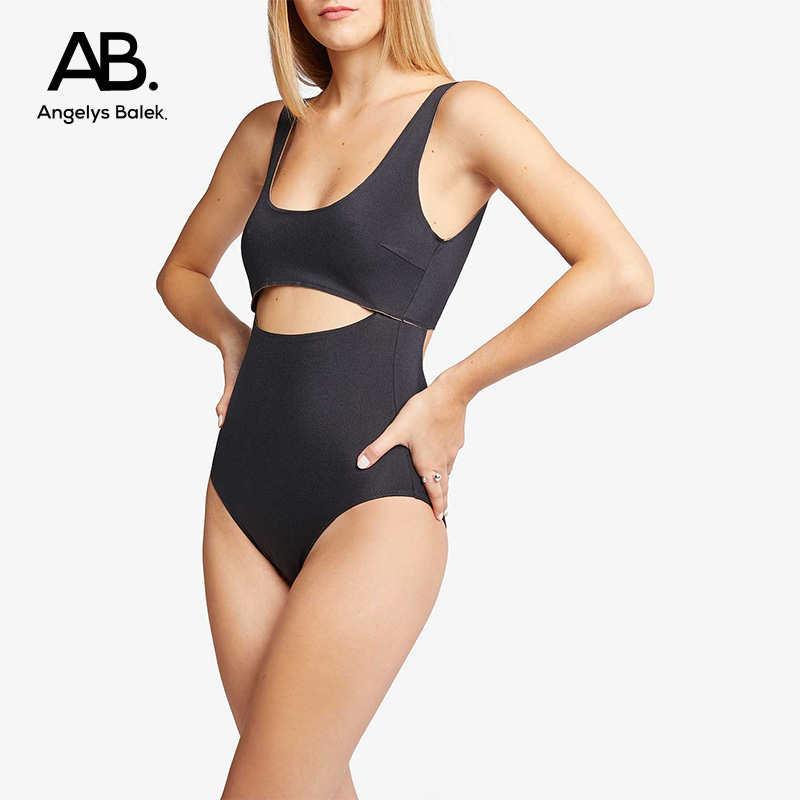 Cut out one-piece swimsuit ab. sexy slim swimsuit black simple triangle backless hot spring swimsuit for women