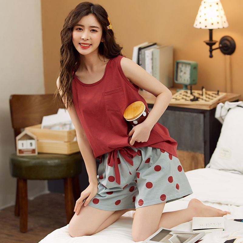 Korean pajamas womens small size% 100 cotton vest set girls shorts thin student home clothes summer