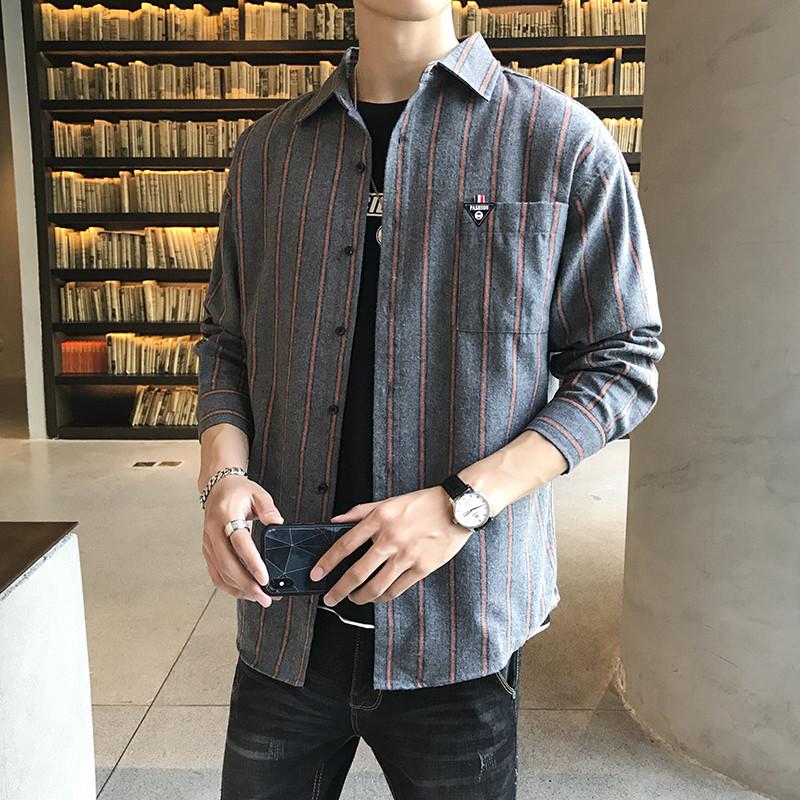 男士秋季长袖休闲外套修身条纹衬衫磨毛衬衣