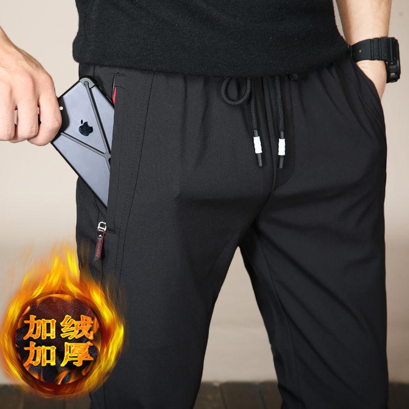 冬季加绒加厚休闲裤男生潮流黑色宽松直筒裤