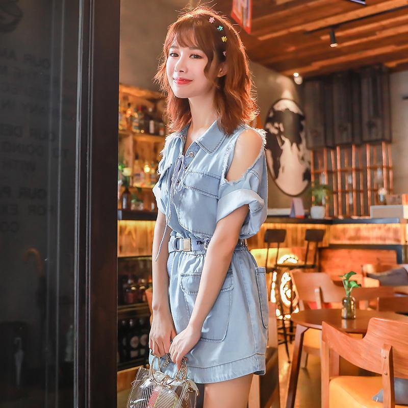 Skirt off the shoulder medium long short sleeve new one-piece dress with big swing and thin words
