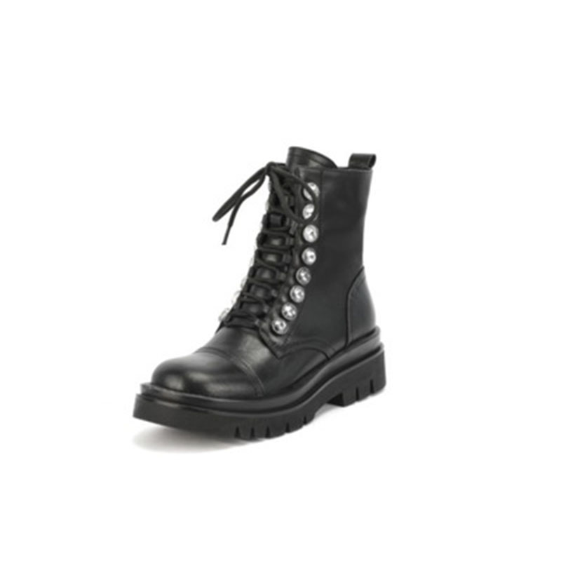 Martin boot girl 2020 new autumn British style rivet short boot women casual square heel round head lace up black boot trend