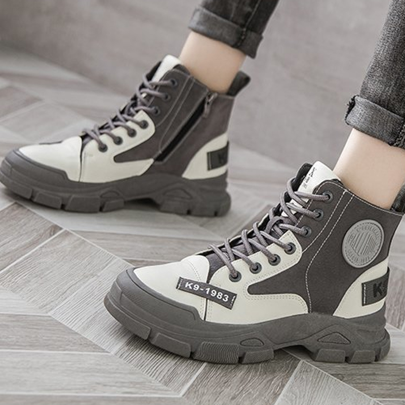 Europe 2020 new matte leather lace up Martin boots womens boots thick bottom muffin boots letters casual high boots