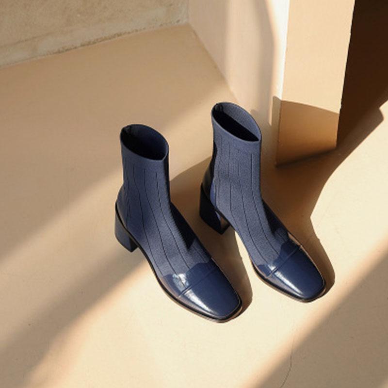2020秋冬新款马丁靴女方头休闲拼接法式漆皮显瘦百搭飞织弹力短靴