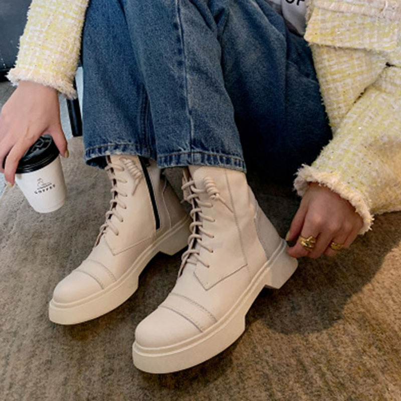 New casual Martin boots fall / winter 2020 British style versatile round head thick heel lace up thick bottom side zipper short boots