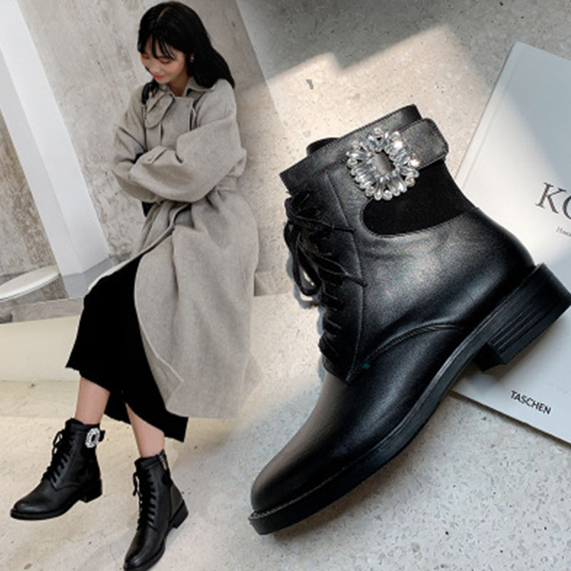 British style leather thick soled Martin boots womens round head thick heel lace up Rhinestone Casual Short Boots