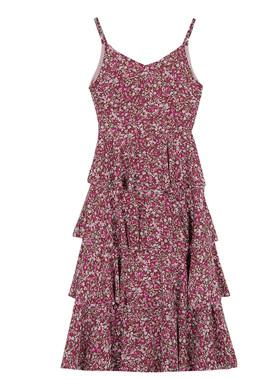 2021夏紫色碎花吊带连衣裙女韩版复古气质收腰显瘦内搭雪纺长款裙