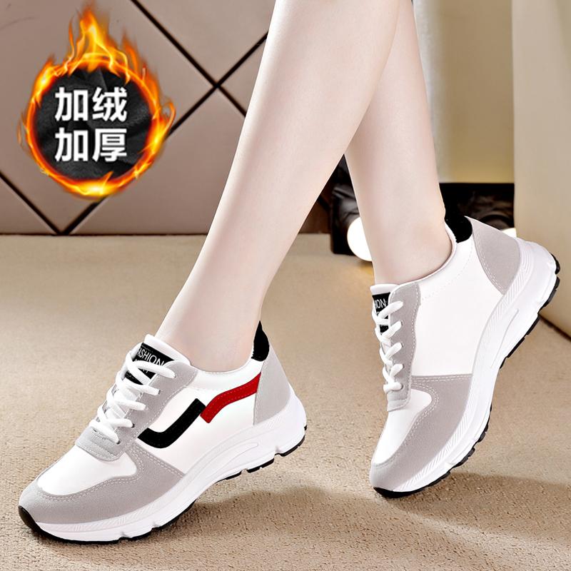 老北京皮面运动鞋女休闲时尚旅游鞋秋冬新款加绒轻便妈妈防水防滑