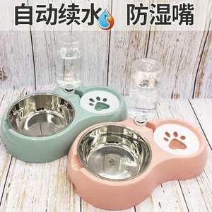 犬两用碗碗喂食食水饭碗��宠物大型自动双碗。型大号盆架狗狗食盆