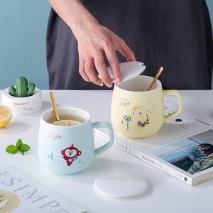 快乐大饼营创意卡通少女粉清新办公陶瓷儿童马克杯早餐牛奶水杯子