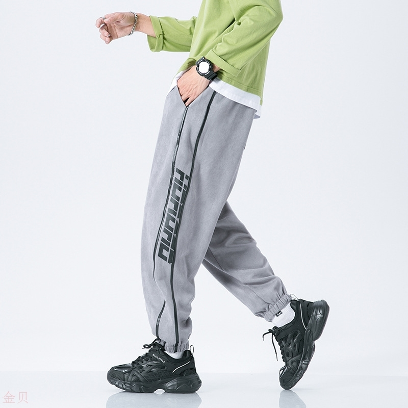 High street mens side stripe letter printed sweatpants youth handsome closing guard pants 21 autumn large pants
