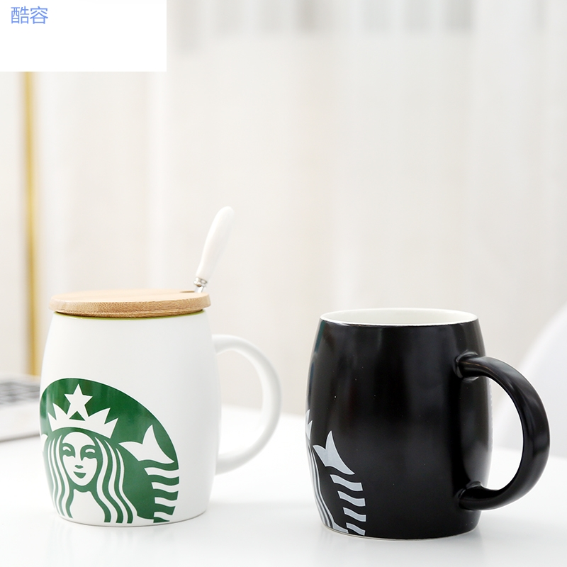 Starbucks mug with cover coffee cup large capacity 2020 Christmas couple cup Nordic ins style ceramics