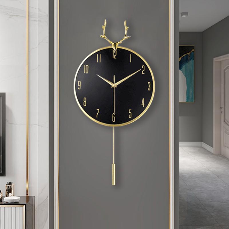 北欧鹿头轻奢挂钟客厅装饰钟表时钟家用时尚钟饰创意挂墙网红大气