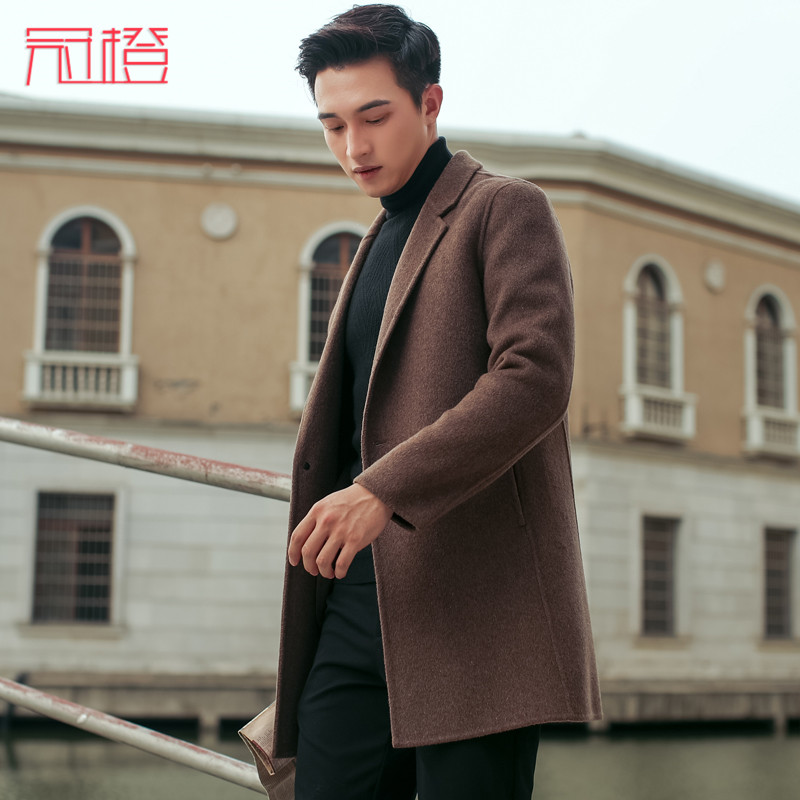 Crown orange autumn and winter new mid long mens double faced British woolen coat
