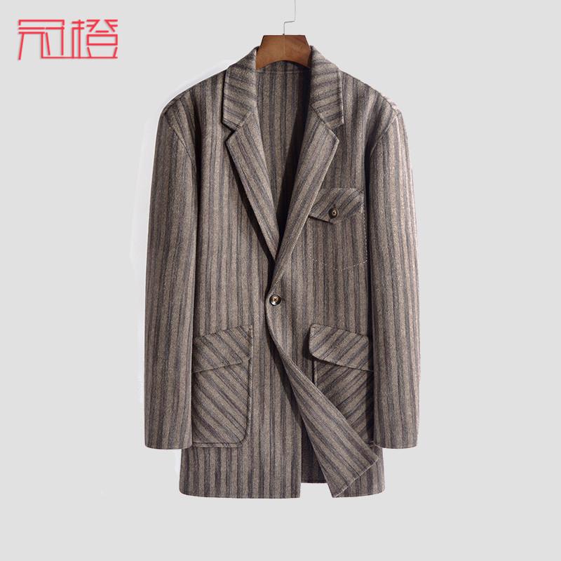 冠橙中长款双面呢大衣男羊毛妮子外套翻领条纹无羊绒风衣尼子宽松