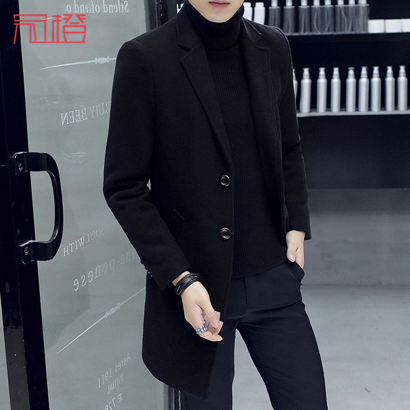 Crown orange autumn windbreaker mens medium long wool coat youth trend mens woolen coat handsome winter Nizi