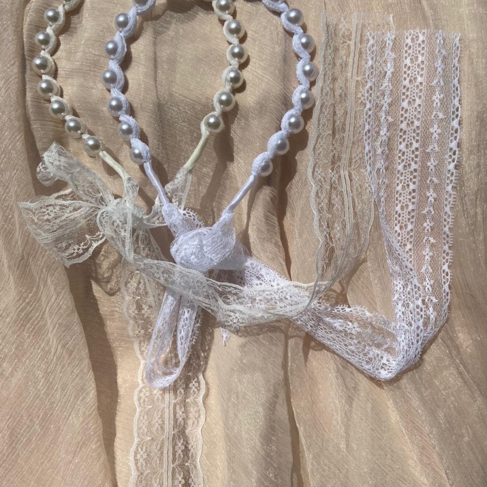 Fairy Retro Old Lace elegant lace dresan hairband French hairband floating court style pearl bow