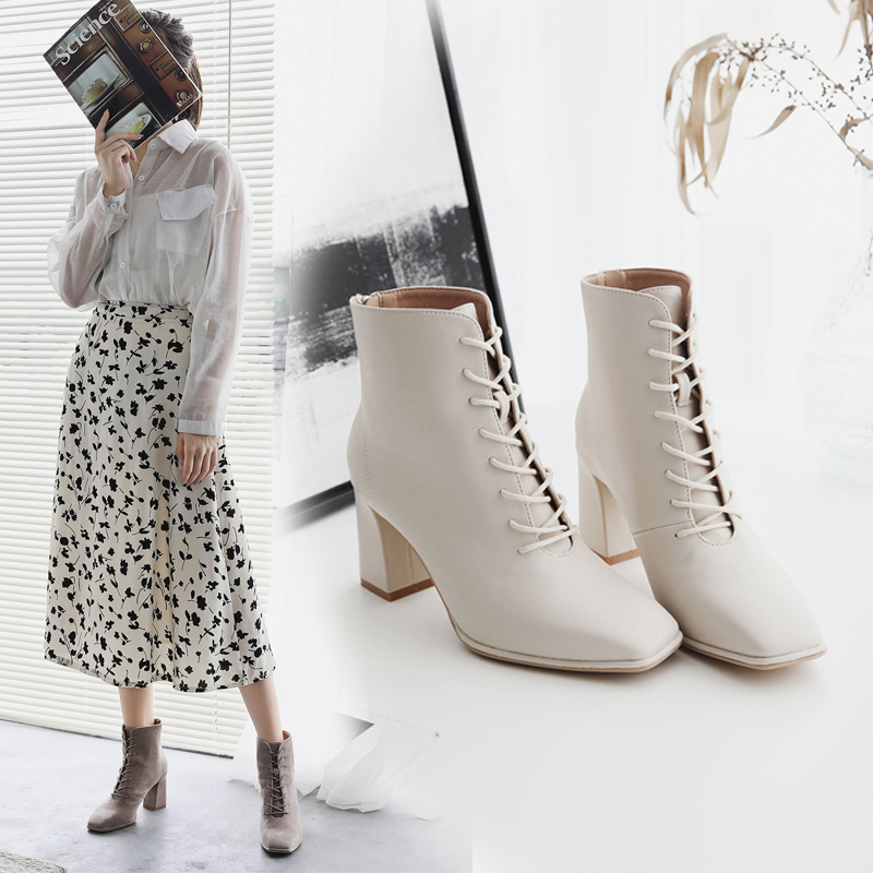 Autumn and winter 2020 new white handsome square head zipper short boots womens lace up high-heeled Martin boots womens fashion British style