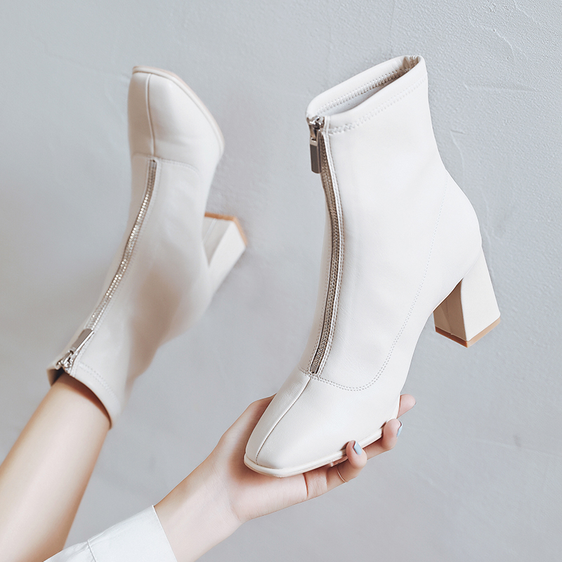 Square head front zipper short boots womens spring and autumn single Boots White middle tube thick heel elastic thin boots childrens Martin boots high heel