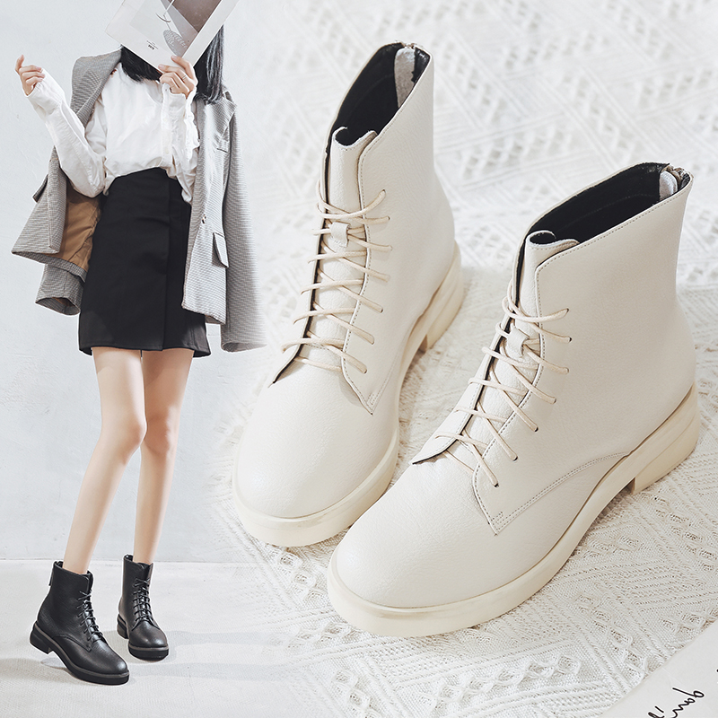 Leather thick heel short boots womens 2020 winter new white lace up thick soled Martin boots womens spring and autumn single boots British style