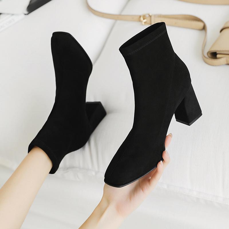 粗跟短靴女春秋单靴2020年冬季新款方头马丁靴女英伦风高跟瘦瘦靴