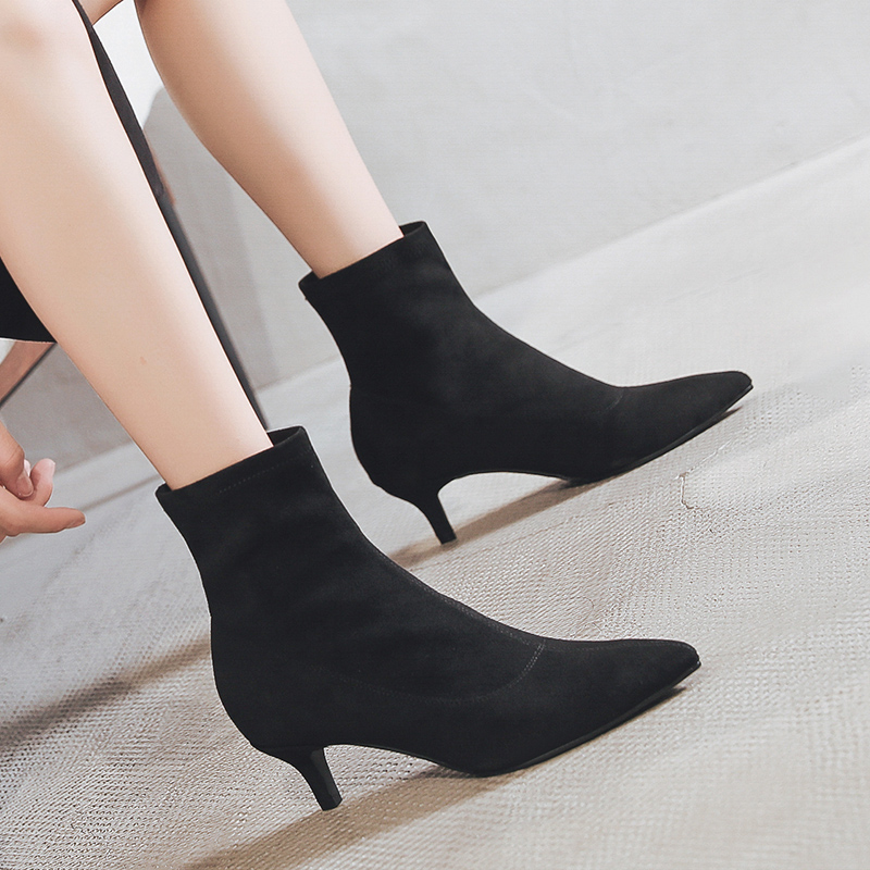 Pointy boots womens spring and autumn single boots Europe station 2020 new versatile net red versatile elastic boots thin heel thin boots
