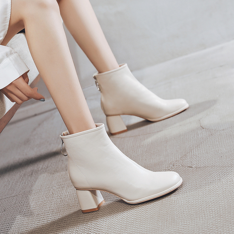 2020 autumn winter new vintage white thick heel Chelsea boots childrens high heel Martin boots womens English short boots