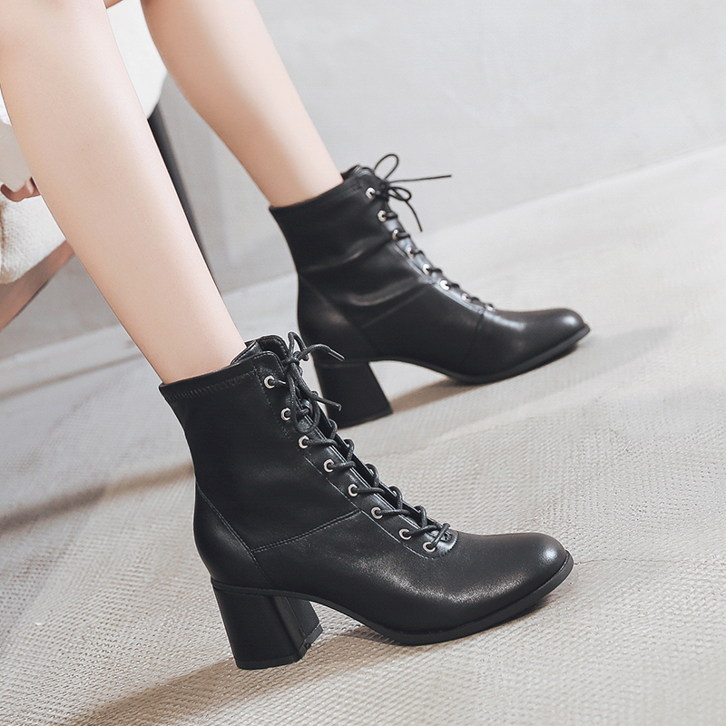 Lace up Martin boots womens fashion ins new autumn and winter net red thick heel thin boots high heel short boots womens British style