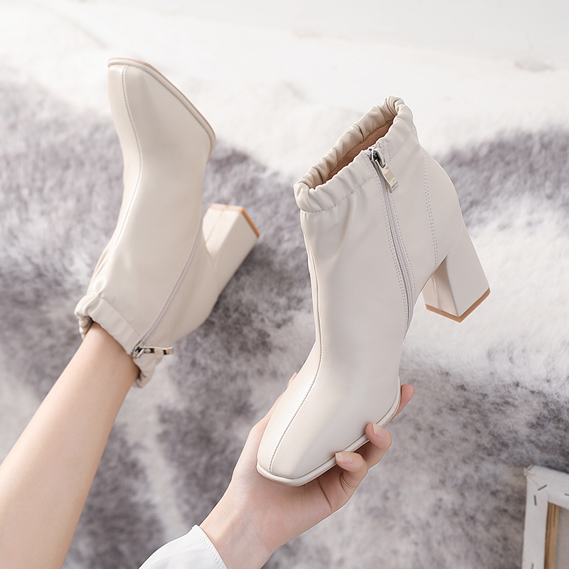 Fall 2020 New Retro Beige thick heel boots childrens square head zipper short boots high heels Martin boots womens British style