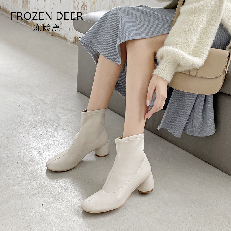 Skinny short boots womens autumn and winter 2020 new Korean slim boots versatile elastic single boots thick heel square head Martin boots
