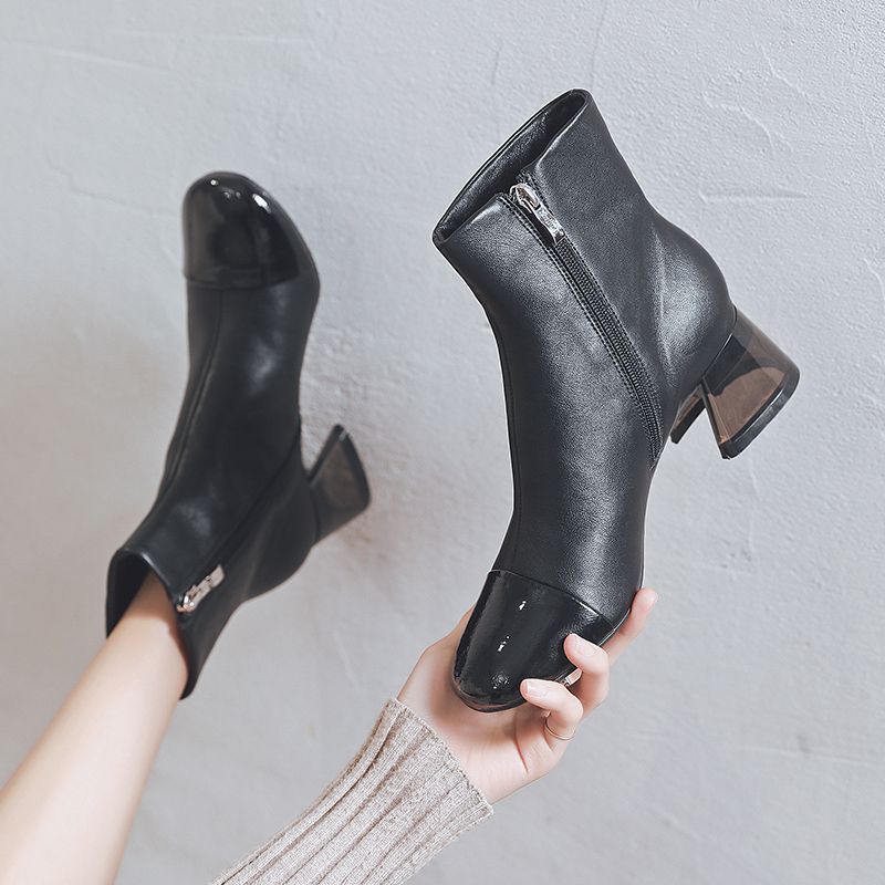 Autumn and winter 2021 new Korean versatile Chelsea short boots childrens thick and British style Martin boots womens spring and autumn single boots