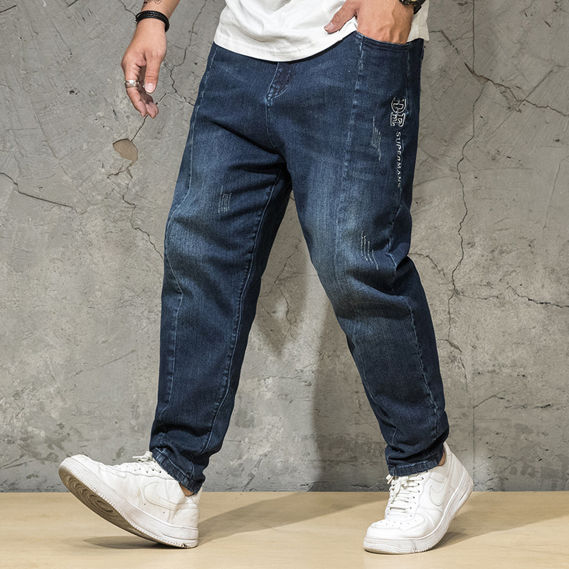 Production of new fashion brand large mens jeans