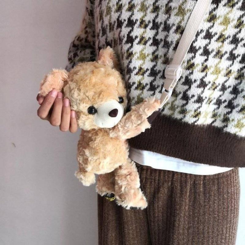 可爱小包包萌少女日系软妹毛毛绒洛丽塔lolita包小熊斜跨单肩胸包