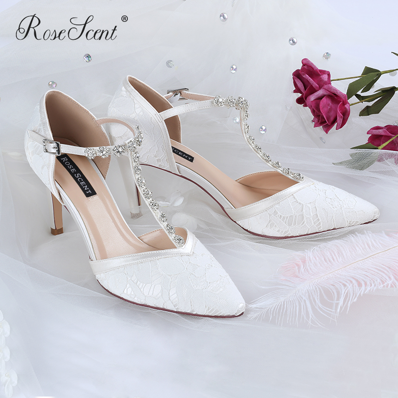Xiaozhong wedding shoes 2021 new design high heeled shoes womens thin heel T-shape with main yarn bride temperament can be worn at ordinary times