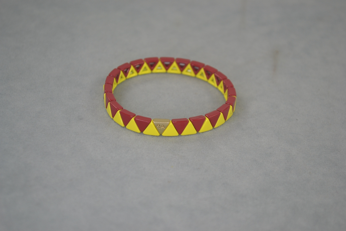 RA rust red e yellow small triangle enamel Elastic Bracelet. Classic foundation. special