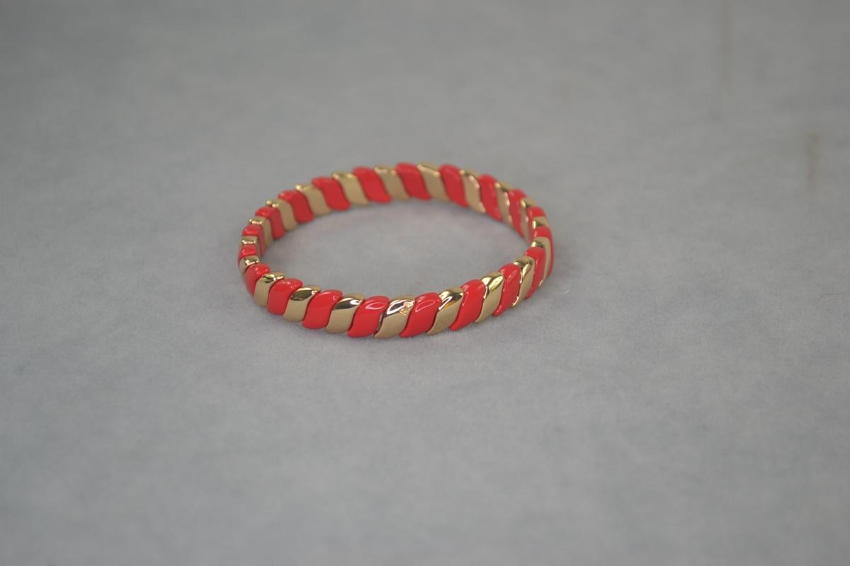 RA red wheat ear wide enamel Elastic Bracelet C. Flame like fire