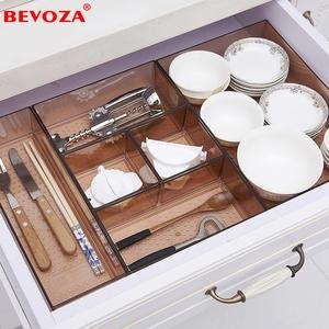 自由组合抽屉收纳分隔宜家用厨房桌面分格筷子刀叉餐具橱柜整理盒