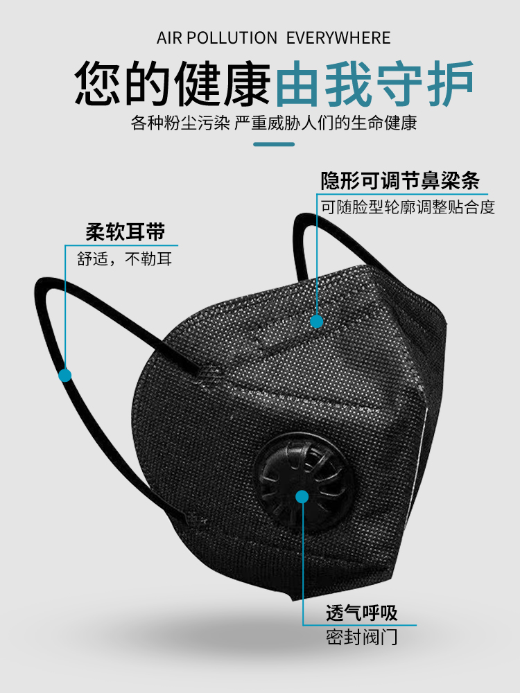 Black kn95 mask dustproof and breathable industrial dust N95 mask windproof and cold proof protective articles for men and women in winter