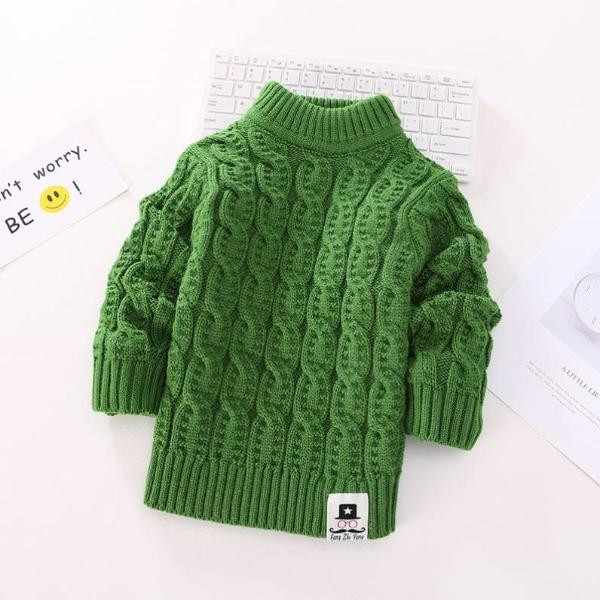 Pure handmade childrens sweater hand woven boy girl high low collar Pullover thickened Plush solid color knitting bottom coat