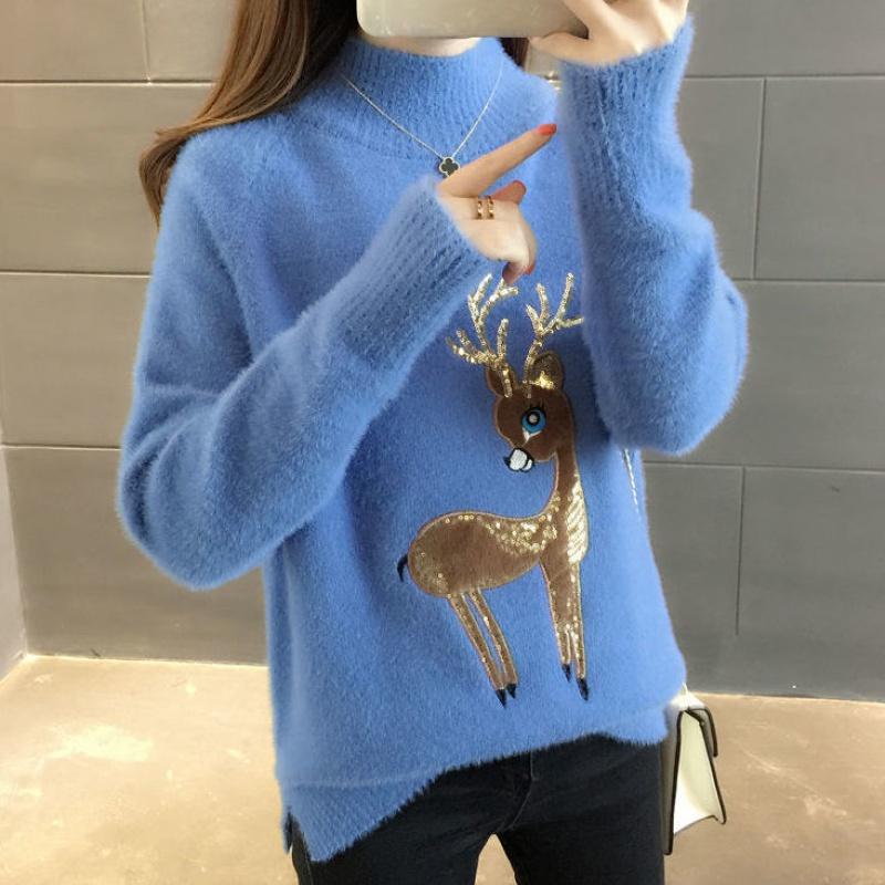 毛衣女2020秋冬季新款宽松打底衫加厚针织衫时尚仿水貂绒洋气上衣