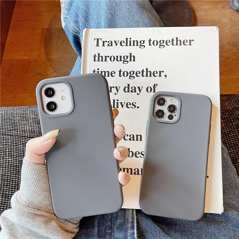 ins炭灰色适用12Pro Max苹果11手机壳液态硅胶xsmax创意8plus男女款iphonex网红7plus半包xr超火小众全包软壳
