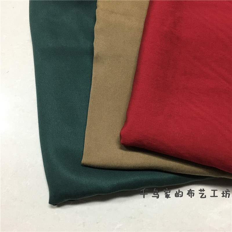 High grade solid color washed cotton fabric twill thickening, not easy to wrinkle wide leg pants dress fabric